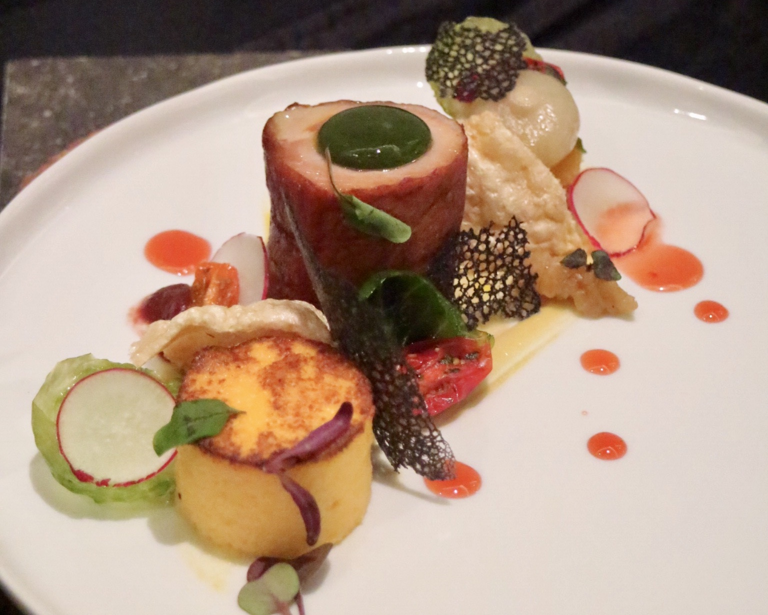 Beet cured smoked sous vide pork loin